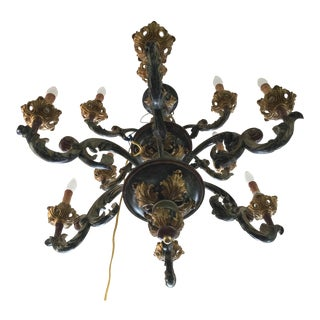 Italian Carved Wood Chandelier Polychrome Paint