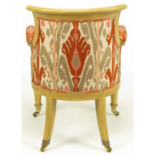 Pair Interior Crafts Regency Scrolled Arm Chairs In Ikat Fabric - Image 7 of 10