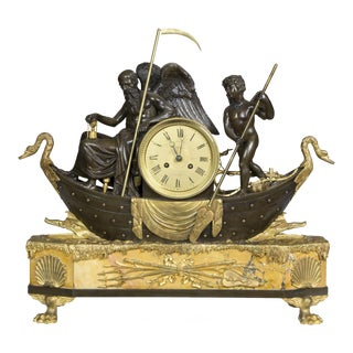 Bronze & Marble Clock Depicting Father Time
