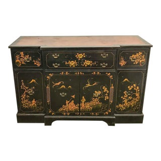 Mid Century Asian Chinoiserie Sideboard, Server, Credenza in Black