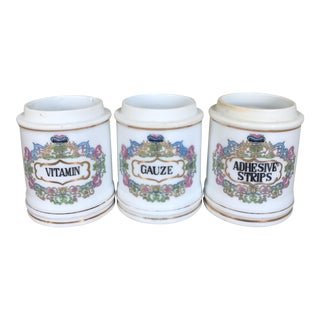 Antique Porcelain Apothecary Jars - Set of 3