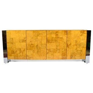 Paul Evans Cityscape Console in Burl Wood and Chrome