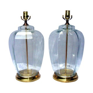 Vintage Modern Glam Glass Hexagon Lamps - Pair