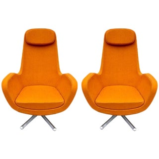 Pair of Orange Space Age Swivel Lounge Chairs