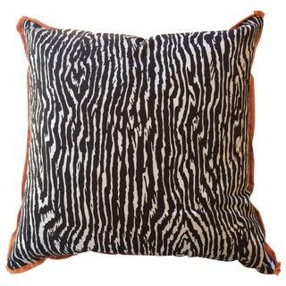 Brown Faux Bois Pillows - A Pair