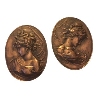 Bas Relief Art Nouveau Bronze Sculptures - A Pair
