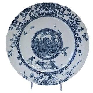 Antique Flow Blue Woodland Plate