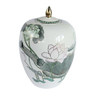 Hand Painted Water Lily Ginger Jar