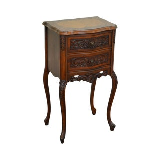 French Louis XV Style Marquetry Inlaid Walnut Nightstand circa 1920s