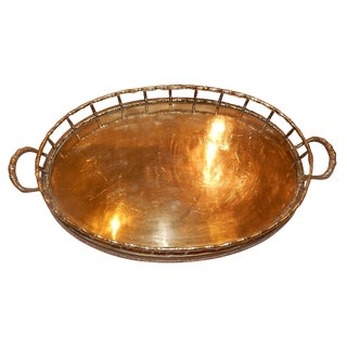 Vintage Oval Brass Bamboo Tray