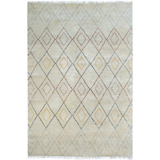 "Moroccan Arya Burl Ivory & Blue Wool Rug - 5'10"" x 9'2"""