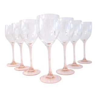 French Blush-Pink Wine Glasses - Set of 7