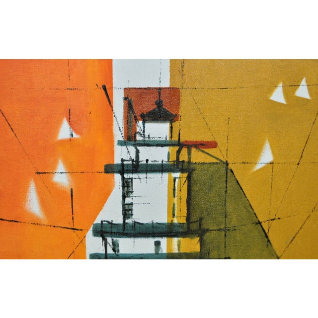 Mid-Century Modern Abstract Lighthouse Painting - Image 4 of 5