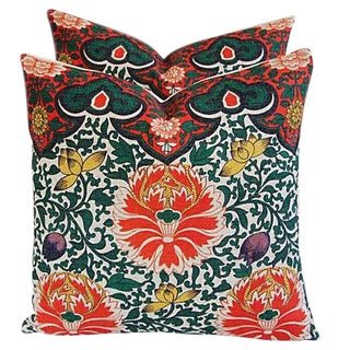 Custom Lotus Blossom Floral Linen Pillows - a Pair