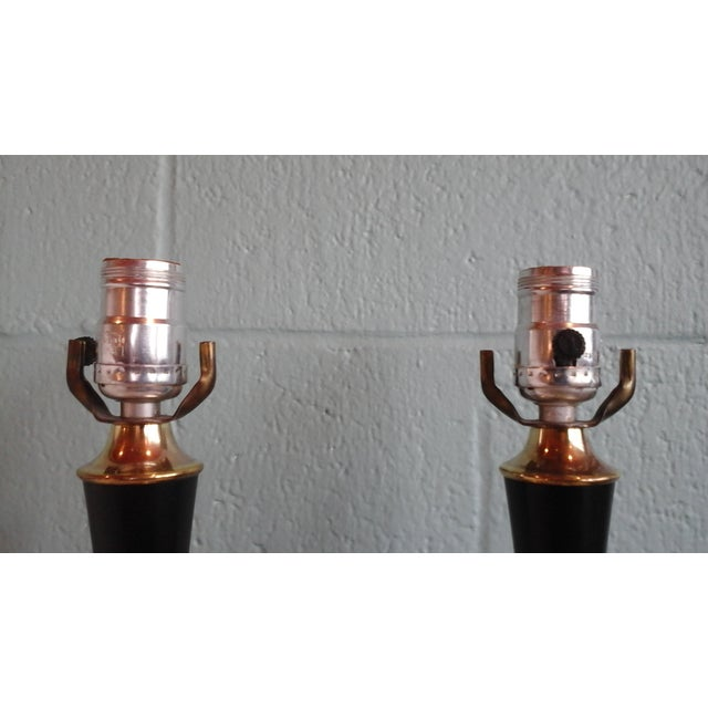 Vintage 1950s Brass Ball Table Lamps - Pair - Image 5 of 8
