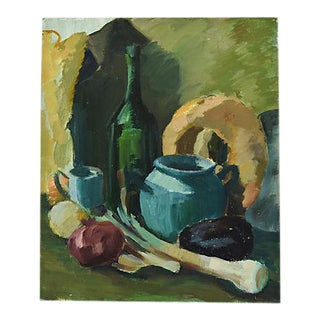 1960s Abstract Tablescape Still Life Oil Painting