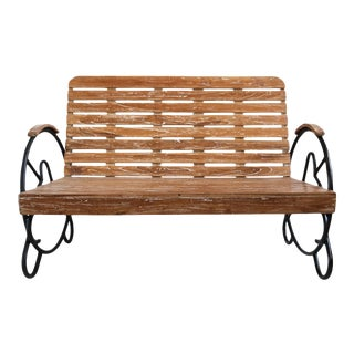 Teak Deco Two-Seater Bench