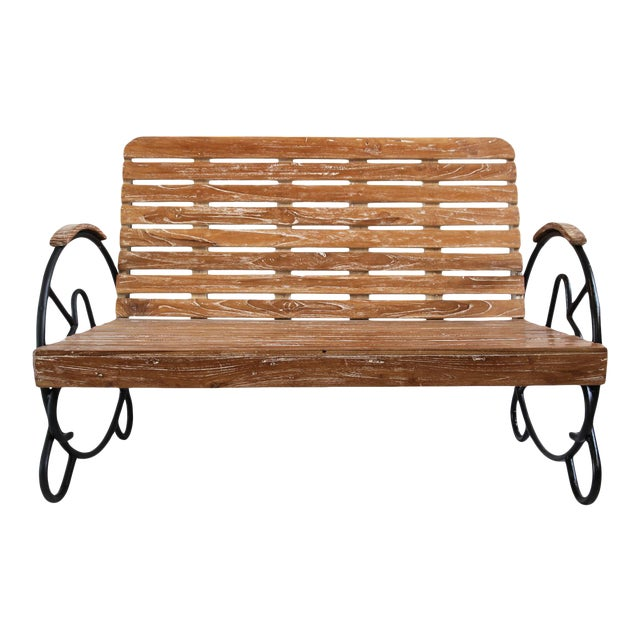 Teak Deco Two-Seater Bench - Image 1 of 5