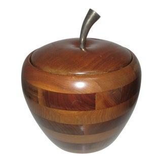 Vintage Walnut Wood Apple Ice Bucket