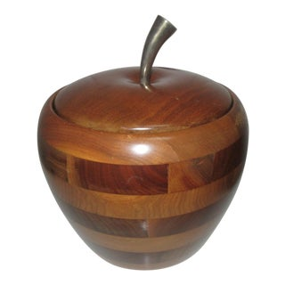 Vintage Walnut Wood Apple Ice Bucket