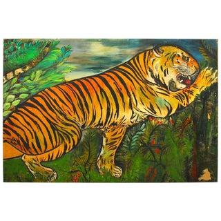 "1930 Vintage ""Tiger"" Painting by Ursula Barnes"