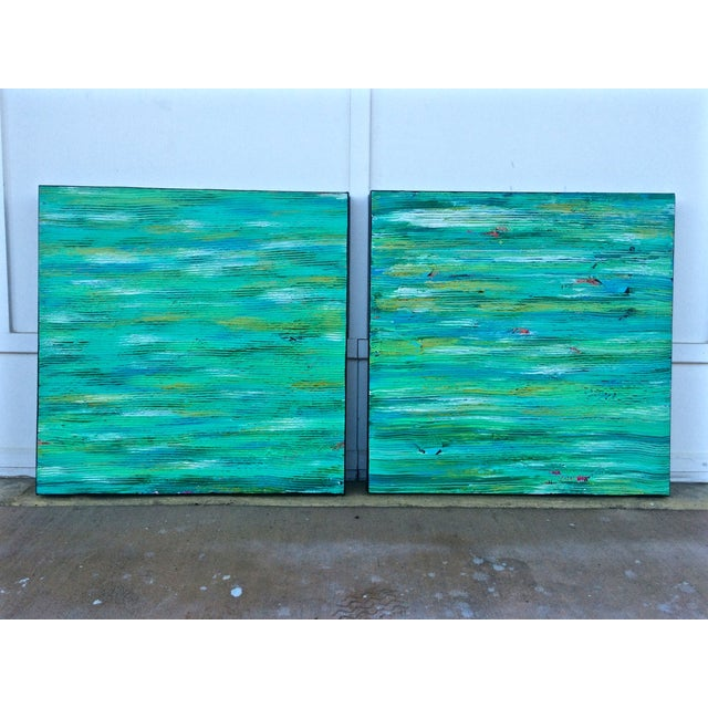 Contemporary Abstract Paintings - A Pair - Image 2 of 6