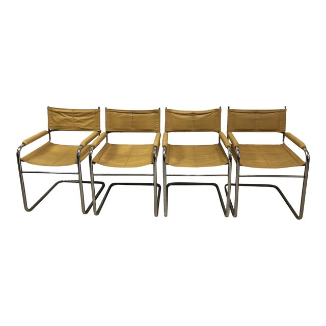 Mustard Leather Arm Chairs - Set of 4 - Image 1 of 7