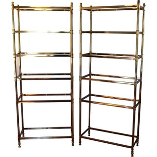 1960s Brass & Glass Etageres - A Pair