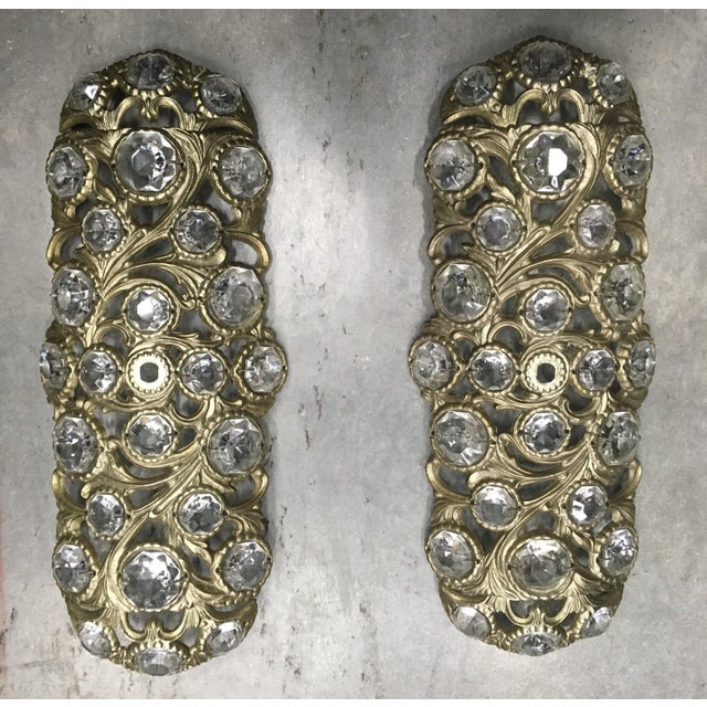 1970s Italian Bronze Sconces Embellished with Crystals - a Pair - Image 4 of 4