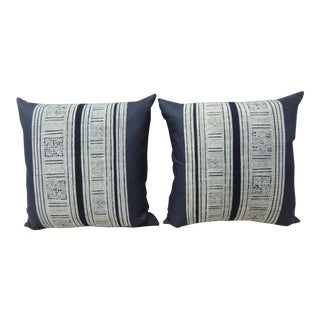 Pair of Indigo & white Hand-Blocked Batik Decorative Pillows