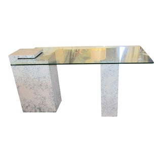 Modern Faux Stone & Glass Top Desk