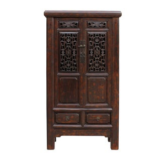 Chinese Distressed Brown Floral Motif Storage Cabinet