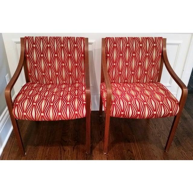 Stow Davis Velvet Geometric Chairs - A Pair - Image 7 of 8