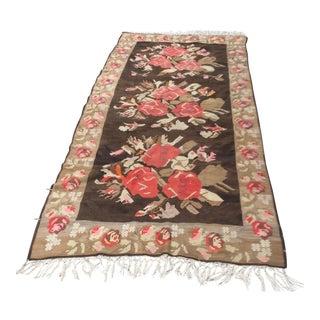 Rose Motif Woven Wool Rug - 6′6″ × 15′