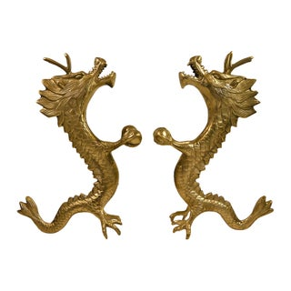 Vintage Chinese Brass Dragon Figures - A Pair