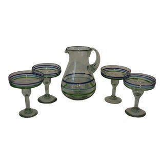 Blown Artisan Margarita Glasses & Pitcher - 5 Piece Set