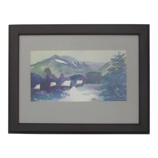 Winter Mountain Cabin Snowscape Watercolor Painting