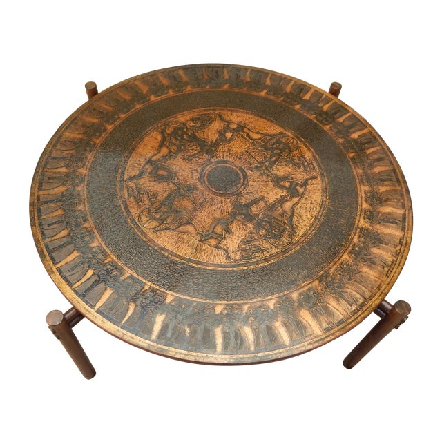 Egyptian Theme Stamped Copper Coffee Table Ca 1970 - Image 1 of 7