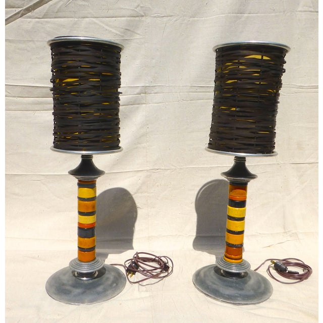 Trade Bead Lamps - A Pair - Image 2 of 9