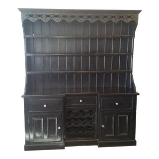 Black Rustic Wine Hutch With Top Shelving