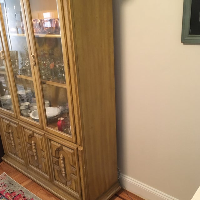 Traditional Style Yellow Stained China Cabinet - Image 3 of 7