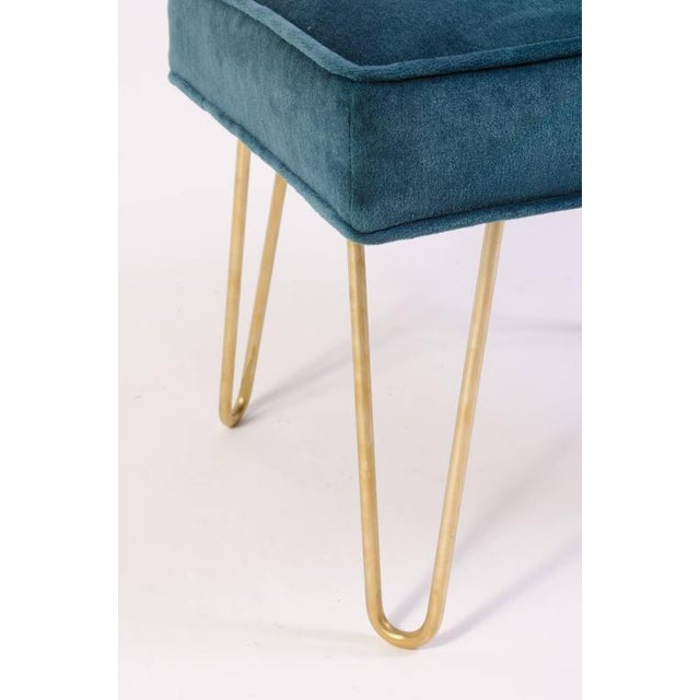 Petite Brass Hairpin Ottomans in Teal Velvet by Montage - Image 4 of 8