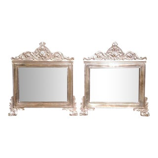French Copper Silvered Repousse Mirrors - A Pair