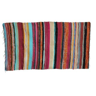 Recycled Colorful Striped Rug - 3′4″ × 5′