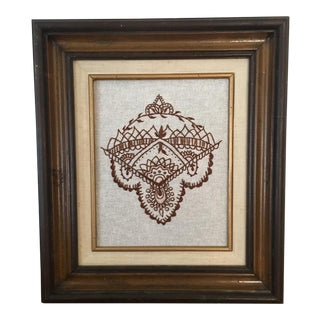 Henna Embroidery in Vintage Wood & Linen Frame
