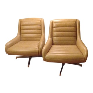 Modern Leather Swivel Lounge Chairs - A Pair