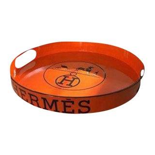 Vintage Hermes Inspired Paris Logo Round Bar Tray