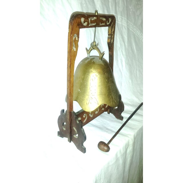 Image of Antique Buddhist Brass & Wood Table Gong Bell