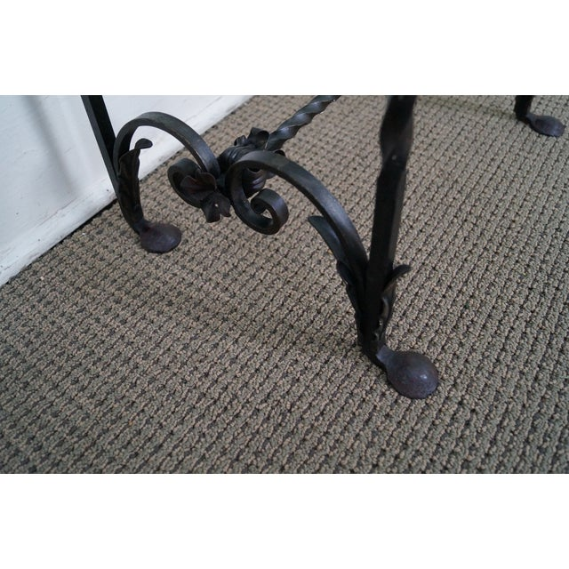 Antique Gothic Wrought Iron Marble Console Table - Image 6 of 10