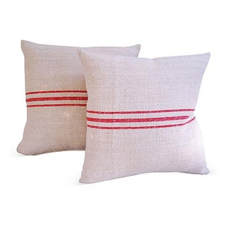 Triple Red Stripe French Pillows - A Pair
